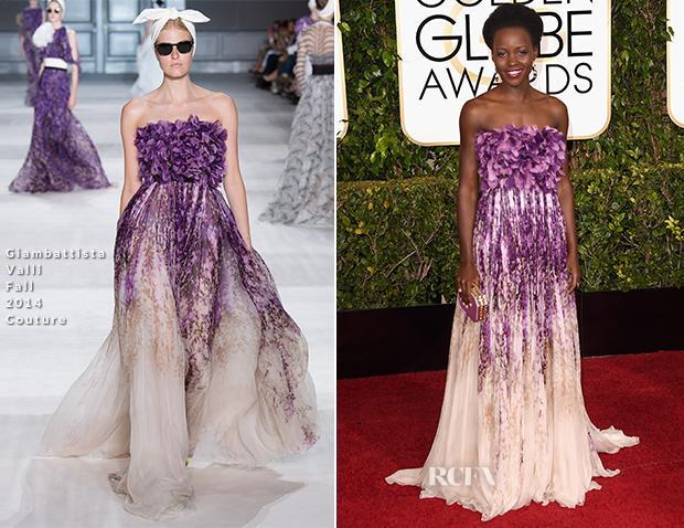 Lupita Nyong'o in a purple Giambattista Valli Couture dress