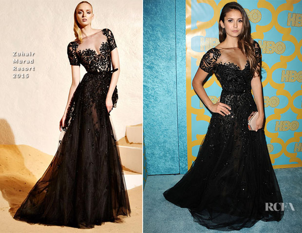 Nina Dobrev In Zuhair Murad - HBO'S Post-Golden Globe Party