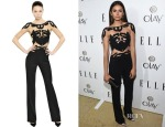 Nina Dobrev's Zuhair Murad Floral Embroidered Jumpsuit