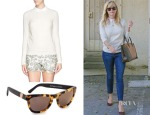 Reese Witherspoon's Tory Burch Carmine Crochet Knit Sweater & Westward Leaning Louisiana Purchase Sunglasses