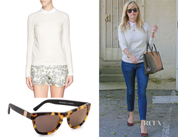 54dafdb90ed Reese Witherspoon s Tory Burch Carmine crochet knit sweater   Westward  Leaning Louisiana Purchase Sunglasses
