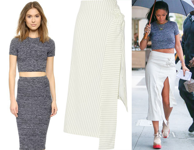 Rihanna's Alice + Olivia Solange Herringbone Crop Top & J.W.Anderson Pinstriped Cotton-Blend Skirt