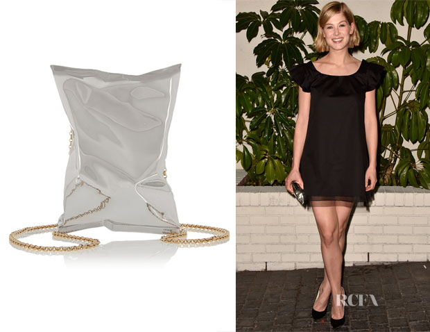 Rosamund Pike's Anya Hindmarch Crisp Packet silver-tone clutch