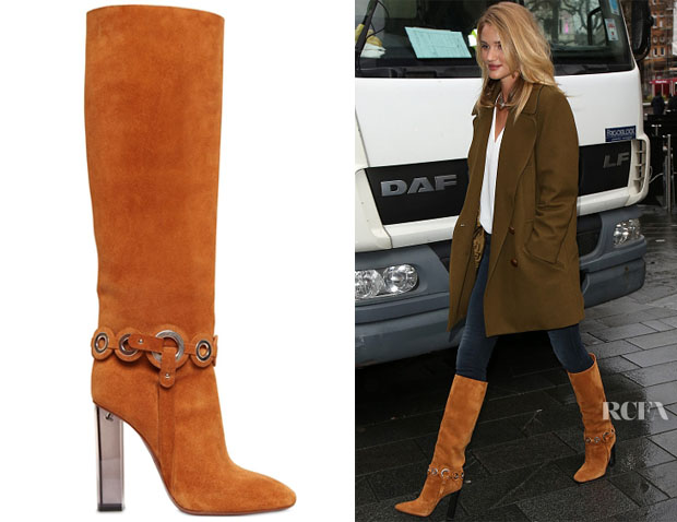 Rosie Huntington-Whiteley's Emilio Pucci Suede Boots With Plexiglass Heel