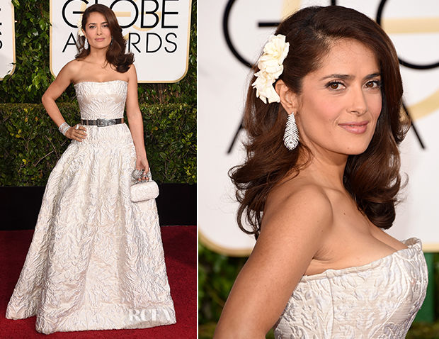 Salma Hayek In Alexander McQueen - 2015 Golden Globe Awards