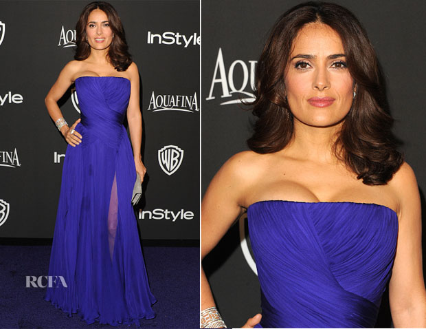 Salma Hayek In Gucci Première - 2015 InStyle and Warner Bros Golden Globe Awards Post-Party