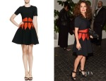 Salma Hayek's Alexander McQueen Jewel-Neck Dress with Graphic Flame Waist