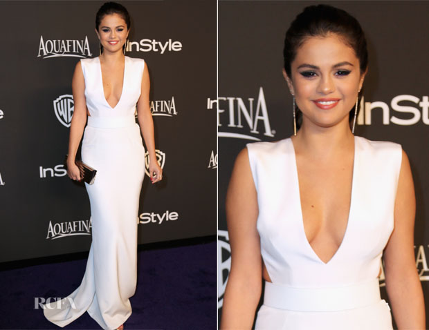 Selena Gomez In Kaufmanfranco - 2015 InStyle and Warner Bros  Golden Globe Awards Post-Party