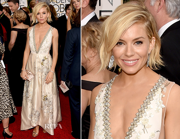 caa93c2db2 Sienna Miller In Miu Miu - 2015 Golden Globe Awards - Red Carpet ...