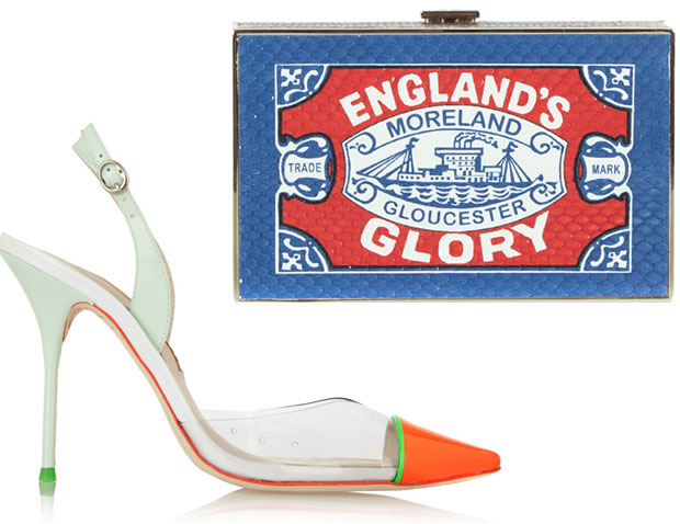 Sophia Webster Daria Neon Sandals and Anya Hindmarch England's Glory Imperial clutch