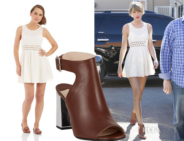 Taylor Swift's Free People Daisy Accented Fit and Flare Dress & Prada shoes