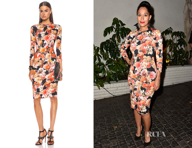 Tracee Ellis Ross' Givenchy Long Sleeve Floral Print Viscose-Blend Dress
