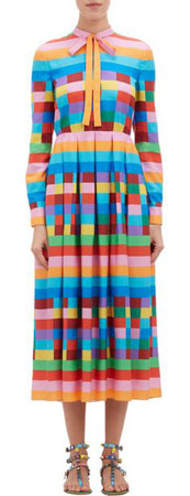 VALENTINO Rainbow Check & Stripe Shirtdress