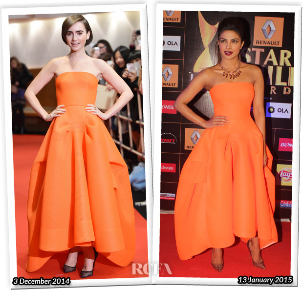 Who Wore Maticevski Better...Lily Collins or Priyanka Chopra?