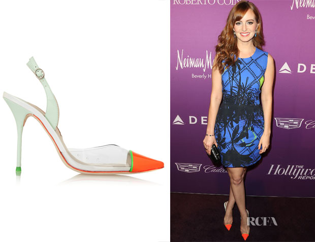 Ahna O'Reilly's Sophia Webster Daria Patent-Leather and PVC Pumps