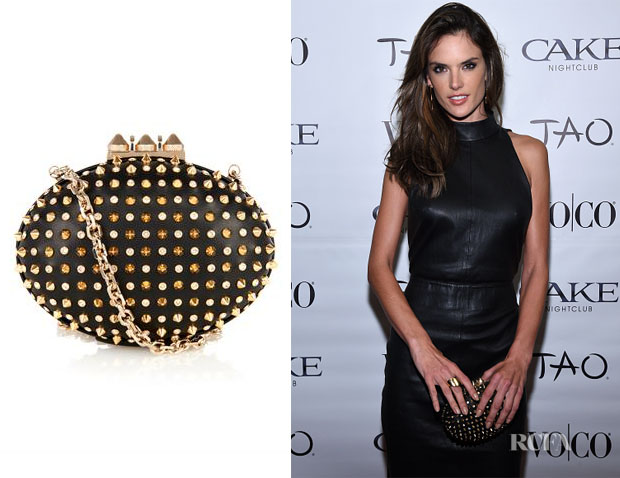 Alessandra Ambrosio's Christian Louboutin Mina stud and crystal leather clutch