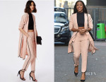 Alexandra Burke's Missguided Dusky Pink Dolphin Hem Black Pocket Detail Duster Coat & Cropped Trousers