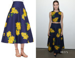 Allison Williams' Michael Kors Dahlia-Embroidered Full Mikado Skirt