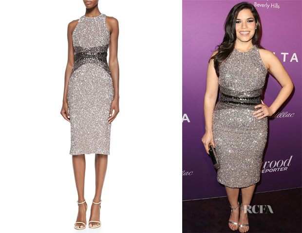 America Ferrera's Pamella Roland Signature Sequin Ombre Sheath Dress