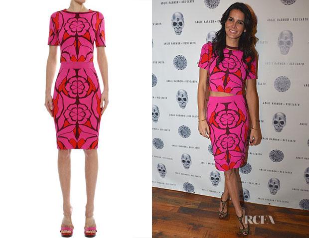 Angie Harmon's Alexander McQueen Flower Jacquard Crop Top & Skirt
