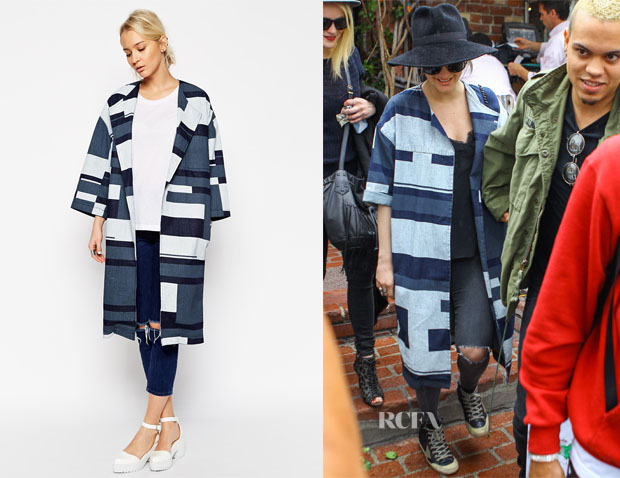 Ashlee Simpson's ASOS WHITE Denim Printed Paneled Coat