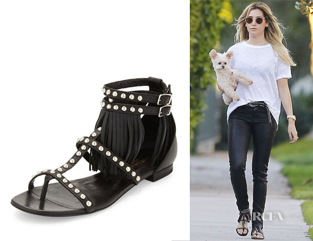 Ashley Tisdale's Saint Lauren Studded Leather Fringe Sandals