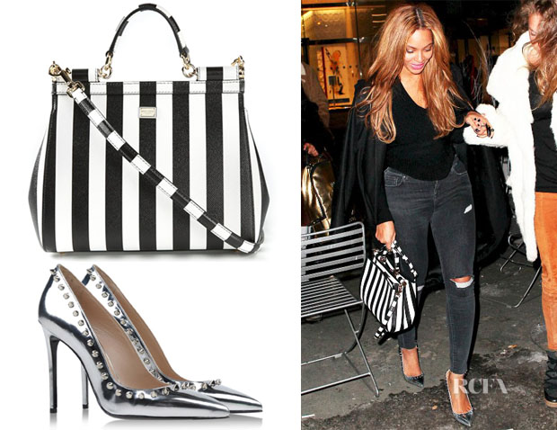 Beyonce Knowles' Dolce & Gabbana Sicily Tote & Barbara Bui Mirrored Studded Pumps