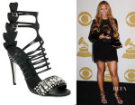 Beyonce Knowles' Fendi Crystal Crocodile & Leather Cage Sandals