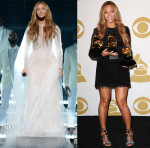 Beyonce Knowles In Roberto Cavalli Atelier & Balmain - 2015 Grammy Awards Performance & Press Room
