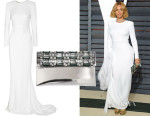 Beyonce Knowles' Stella McCartney Renee Open-Back Crepe Gown & Marni Embellished Clutch