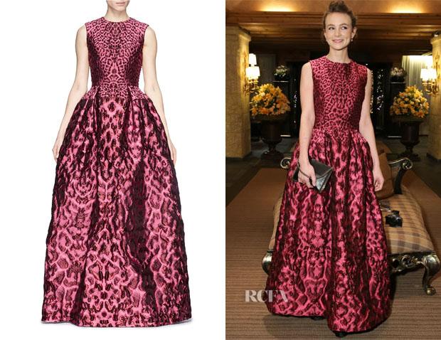 Carey Mulligan's Alexander MccQueen Leopard Jacquard Cloqué Flare Dress