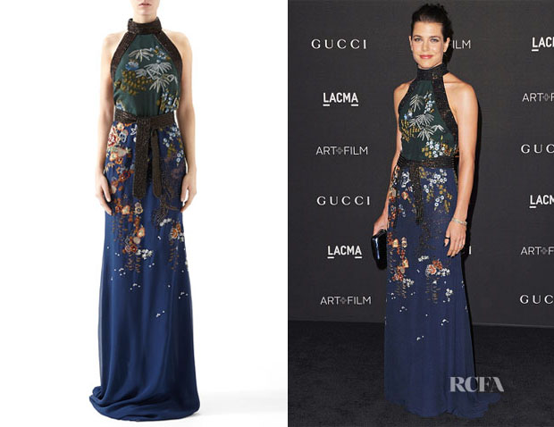 Charlotte Casiraghi's Gucci Embroidered Silk Chiffon Sleeveless Gown