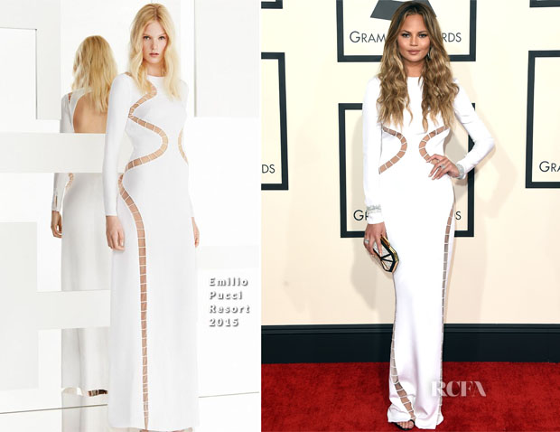 Chrissy Teigen In Emilio Pucci - 2015 Grammy Awards