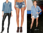 Chrissy Teigen's Bella Dahl Denim Shirt Tail Button Down & One Teaspoon Bandits Shorts