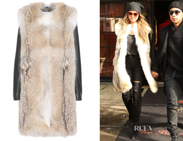 Chrissy Teigen's Saint Laurent Fur coat With Leather Sleeves - Red ...