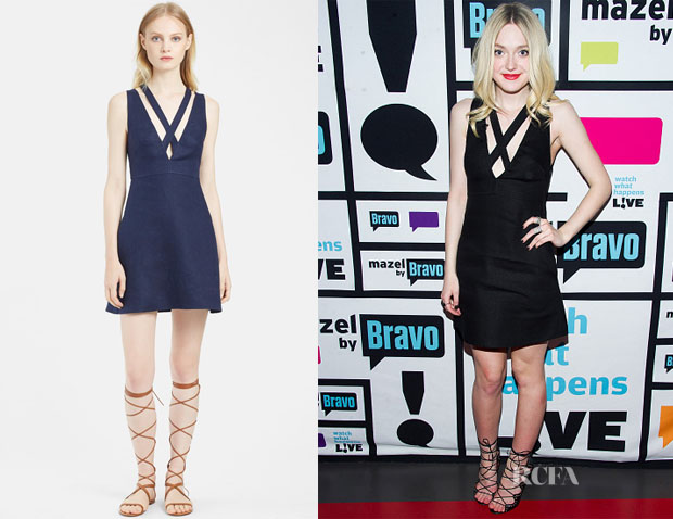 Dakota Fanning's Valentino Asymmetrical Back A-Line Linen Dress