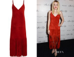 Dakota Fanning's Valentino Fringed Suede Midi Dress