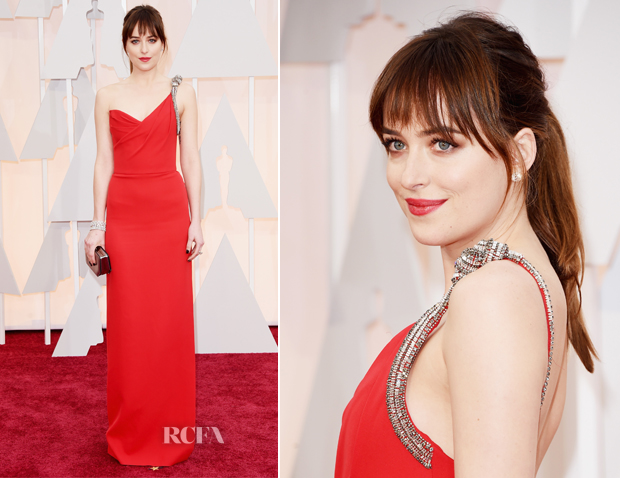 Dakota Johnson In Saint Laurent - 2015 Oscars