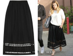 Drew Barrymore's SEA Cut-Out Embroidered Cotton-Voile Skirt