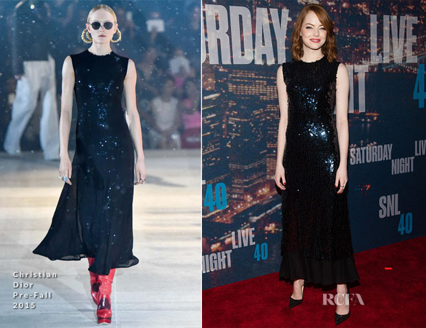 Emma Stone In Christian Dior - SNL 40th Anniversary Celebration