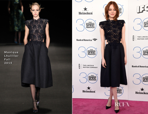 Emma Stone In Monique Lhuillier - 2015 Film Independent Spirit Awards