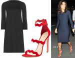 Eva Longoria's The Row Adiba Stretch Dress & Prada Rosso Triple Strap Wavy Sandals