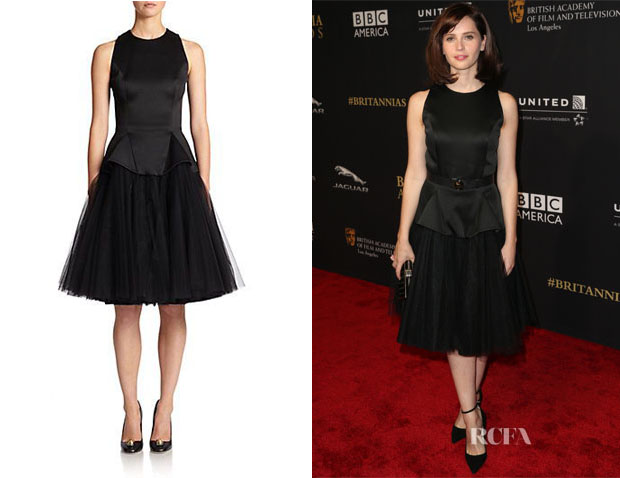 Felicity Jones' Christopher Kane Satin Flared Dress