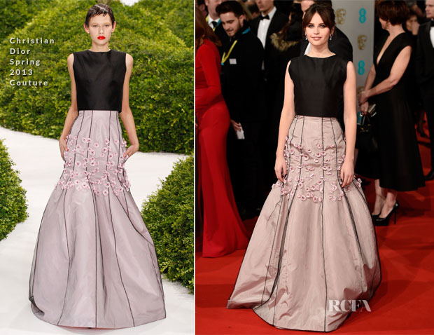 Felicity Jones In Christian Dior Couture - 2014 BAFTAs
