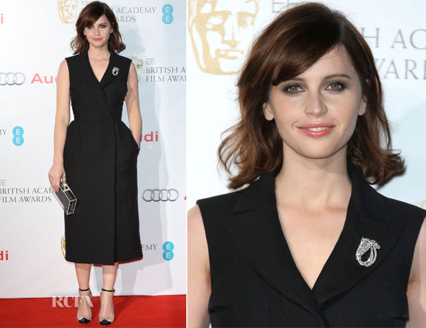 Felicity Jones In Christian Dior Couture - EE British Academy Awards Nominees Party