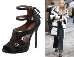 Gigi Hadid's Tabitha Simmons  Bailey Double Ankle Wrap Crystal-Embellished Sandals