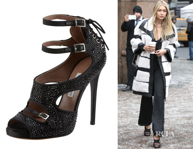 Gigi Hadid's Tabitha Simmons  Bailey Double Ankle Wrap Crystal-Embellished Sandals