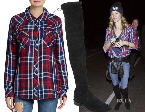 Gisele Bundchen's Rails Kendra Shirt & Stuart Weitzman Lowland Suede Thigh Boots