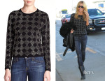 Heidi Klum's Alice + Olivia Rhinestone Diamond-Patterned Wool Sweater