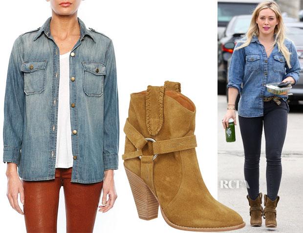Hilary Duff's Current Elliott Perfect Shirt & Isabel Marant Rawson Ankle Boots
